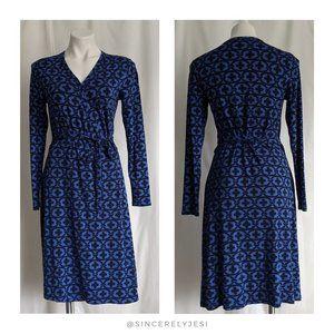 Boden ▪ Blue Floral Links Jersey Wrap Dress